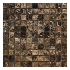 Emperador Dark Barcelona Mosaic, 1x1, Polished Mosaic Tiles, 10 Sqft