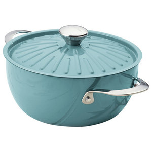 Rachael Ray Cucina Agave Blue 4.5 Quart Covered Round Casserole