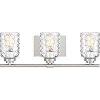 Cristal 3 Light Bathroom Vanity Light in Brushed Nickel