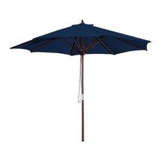 Jordan Manufacturing 9' Wooden Market Umbrella, Navy
