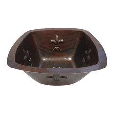 """SimplyCopper - 15"""" Square Copper Kitchen Bar Prep  Sink with Fleur de Lis Motif Dual Mount - Bar Sinks"""