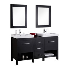 "New York 60"" Double Sink Vanity Set, Espresso"