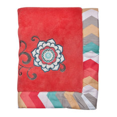 Trend Lab Waverly Pom Pom Play Framed Coral Fleece Baby Blanket