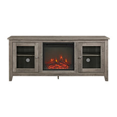 "58"" Wood Media TV Stand Console With Fireplace, Gray Wash"