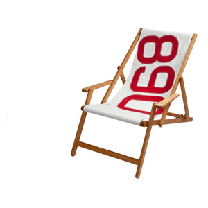 Recycled Sailcloth Oak Deck Chair, White and Red