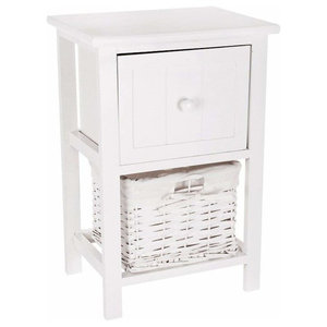 Traditional Bedside Table, White Finished MDF With Drawer and Wicker Storage
