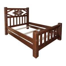 Furniture Barn USA - Rustic Barn Wood Style Timber Peg Diamond Mission Queen Bed - Panel Beds