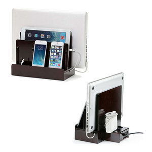 SMART Multi-Device Charging Station with USB+AC Power Hub, Cherry High Gloss