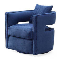 TOV Furniture - Kennedy Velvet Swivel Chair, Navy - Armchairs and Accent Chairs