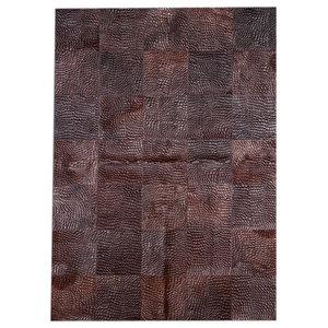 Patchwork Leather Cubed Cowhide Croco Rug, Brown, 200x300 Cm