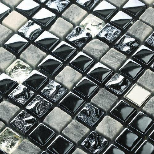 Grey Stone Iridescent Glass Tile Black Navy Blue Kitchen