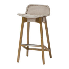 Sol Coastal Beach Beige Rope Teak Counter Stool Outdoor Bar Stools and Counter Stools