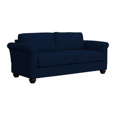 Georgetown Quick Assembly Two Seat Mahogany Leg Sofa, Indigo