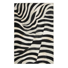 Madisons Inc Black And White Zebra Striped Patchwork Cowhide Rug