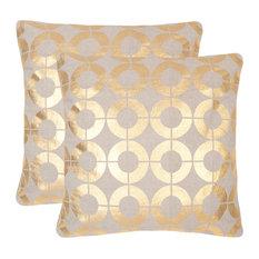 "Safavieh Bailey Pillow, Set of 2, Gold, 22""x22"""