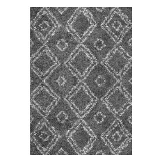 "Beyazit Machine-Made Shag Rug, Gray, 10'6""x14'"
