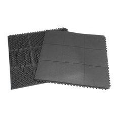 "Rubber-Cal ""Revolution"" Interlocking Floor-5/8x36x36-inch Rubber Tiles-Black"