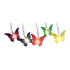 Battery Operated LED Butterfly Garden Patio Umbrella Lights With Timer, 10-Piece