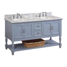 "Beverly 60"" Bath Vanity, Powder Blue, Carrara Marble, Double Vanity"