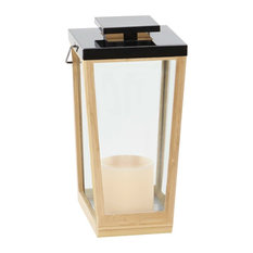 Modern Trapezoidal Bamboo and Stainless Steel Candle Lantern