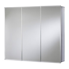 "Jacuzzi PD47000 26"" H x 30"" W x 5-1/4"" D Triple Door Medicine - Silver Aluminum"