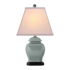 """Celadon Crackle Porcelain Temple Jar Table Lamp 20"""""""