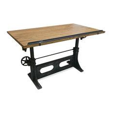 Adjustable Crank Drafting Desk, Tilting Top, Cast Iron Base