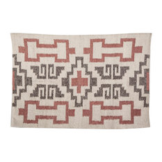 Red and Light Brown Wool Rug