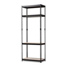 KR   Gavin Black Metal 4 Shelf Closet Storage Racking Organizer   Closet  Organizers