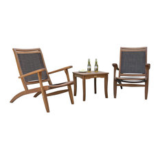 3 pc. Eucalyptus & Sling Lounge Set with Square Accent Table