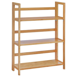 Large Folding Shelf, Natural Bamboo Wood With 3-Compartment, Modern Design