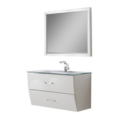 "Fresca Platinum Wave 40"" Bathroom Vanity With Mirror, Glossy White"