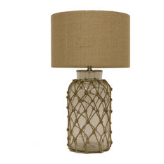 Decor Therapy   Seeded Glass Table Lamp With Rope Net   Table Lamps