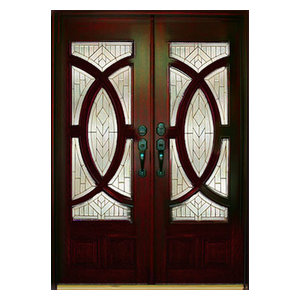 """Exterior Front Entry Double Wood Door M680A 36""""x80""""x2, Right Hand Swing In"""