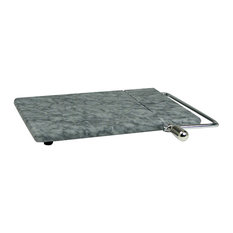 Marble Cheese Board with Wire Slicer - Grey Marble
