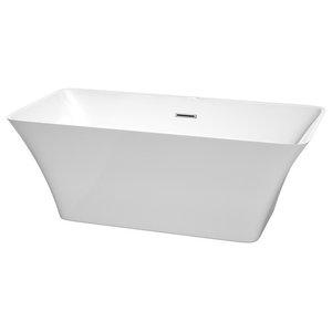 "Tiffany Freestanding Bathtub, Polished Chrome Trim, 59"""