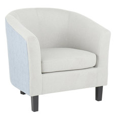 Claudia Barrel Chair - Black Wood Light Gray Fabric Light Blue Fabric