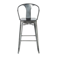 Retro Cafe Bastille Style Stool With Back Gunmetal Counter Height