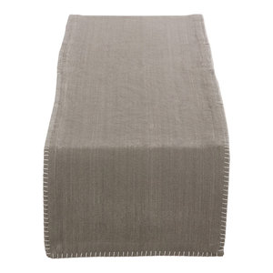 Celena Collection Whip Stitched Design Cotton Table Runner, Gray