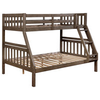 Wire-Brushed Warm Gray Twin Full Bunk Bed