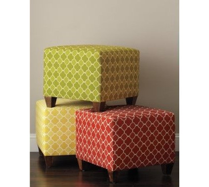 eclectic ottomans and cubes by Garnet Hill
