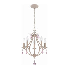 Craftmade 5-Light Mini Chandelier, Antique Linen/Pink Crystal