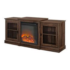 60-inch Classic Tiered Top Fireplace TV Console Dark Walnut