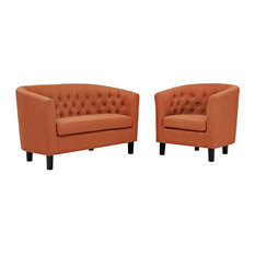 Modway 2 Piece Upholstered Fabric Loveseat And Armchair Set EEI-3148-ORA-SET