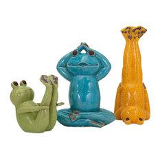 Yoga Frog 3-Piece Statue Set