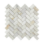 "11.75""x11.75"" Calacatta Gold Italian Calcutta Marble Honed Herringbone Tile"