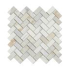 "11.75""x11.75"" Calacatta Gold Italian Calcutta Marble Honed Herringbone Tile"