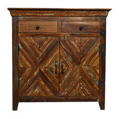 Reclaimed  Rustic Free Standing Console Storage Cabinet With Drawers