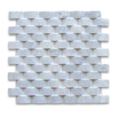 "12""x12"" Carrara White 3D Cambered Brick Arched Mosaic Polished, Chip Size: 1""x2"""