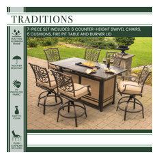 Traditions 7-Piece High-Dining Set With 30,000 BTU Fire Pit Table, Tan/Bronze